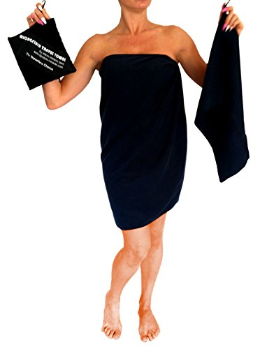 Fiber Super Nylon (Micro-Miracle XL (30-Inch-by-60-Inch) Soft Microfiber Travel Towel with Hand Towel and Nylon Mesh Carry Bag, Navy Blue)
