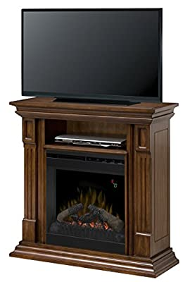 DIMPLEX, Electric Fireplace, TV Stand and Media Console with Natural Logset and Walnut Finish - Deerhurst #DFP20-1268BW