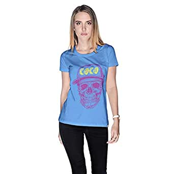 Creo Violet Yellow Coco Skull T-Shirt For Women - L, Blue