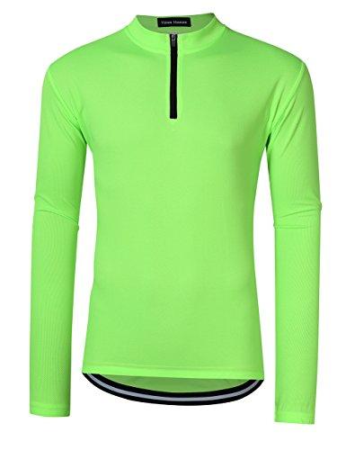Men Active Cycling Shirt Breathable and Quick Dry Solid Color Zipper Long Sleeve Bike T-Shirts (XL, - Green T-shirt Bicycle