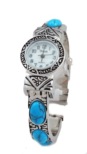 Dainty New Vintage Turquoise Stone Watch Bangle Cuff