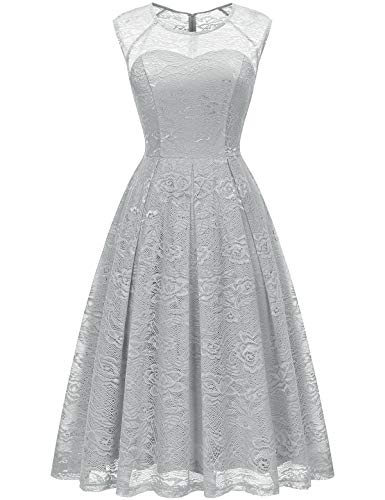 Bbonlinedress Women's Vintage Floral Lace Sleeveless Bridesmaid Dress Formal Cocktail Party Swing Dress Grey L