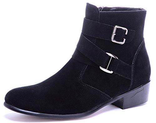 Odema Mens PU Leather Suede Pointed Toe Zipper Buckle Chelsea Ankle Boots Black Suede vFi9G