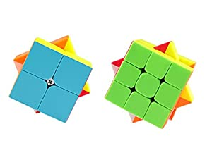 Coogam Qiyi Speed Cube Bundle 2x2 3x3 Magic Cube Set Qidi s 2x2 Warrior W 3x3 Stickerless Puzzle Toy