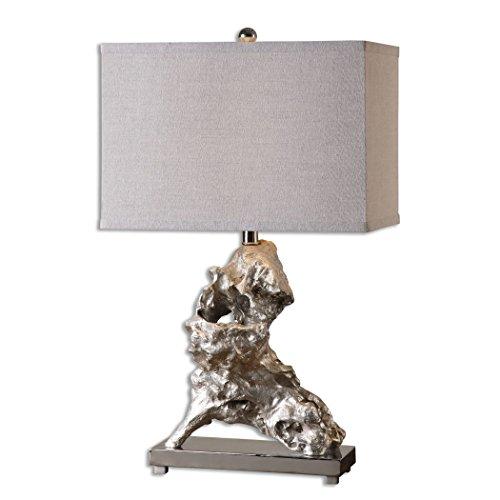 (Metallic Silver Driftwood Design Table Lamp Contemporary Beach)