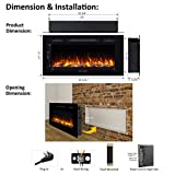 PuraFlame Alice Recessed Electric Fireplace, Wall