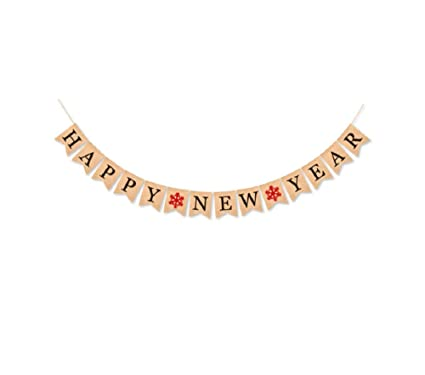 happy new year banner burlap vintage happy new year holiday bunting garland decorations 2019 new years