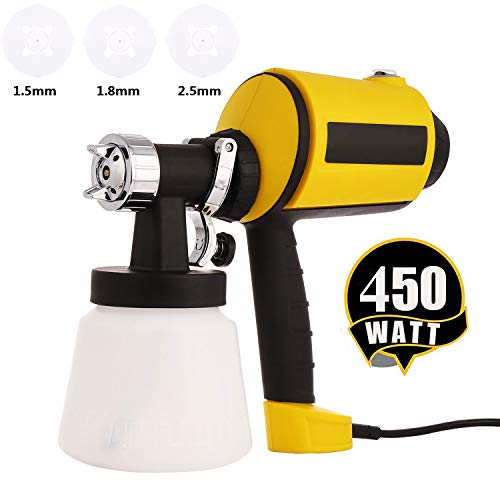Paint Sprayer Electric Sprayer HVLP Paint Guns for Home House, 3 Nozzle Sizes, Lightweight, Easy Spraying and Cleaning (US Stock)