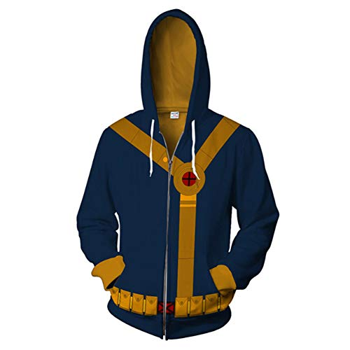 X-Men Hoodie Super Hero Cosplay Costume 3D Printed Creative Fashion Sweater Halloween Costume, Cyclops,2XL]()