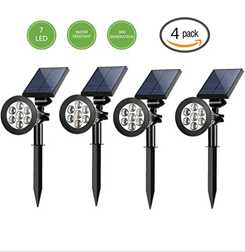Cheap Sunklly Outdoor Solar Spotlights 7 Led 2-in-1 Waterproof Outdoor Solar Adjustable Landscape Spotlights Lawn Garden Patio Deck Yard Driveway(4 Pack)