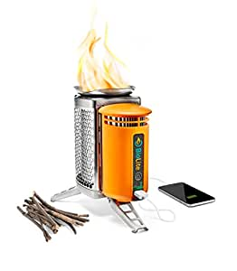 BioLite CampStove 1- Wood-Burning Small Lightweight Stove with Internal Powerbank, Generates Electricity for USB Charging Using Excess Heat, 1st Generation, 5 x 5 x 8.3 Inches, Silver (CSA)