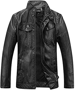 Mens Vintage Stand Collar Pu Leather Jacket