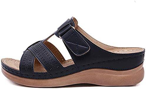 Vrouwen Sleehak Sandalen Zomer Open Teen Slipper Vintage Slip Loafer Schoenen Dames Lederen Casual Sandalen Comfort Antislip Ademend Strand Sandaal,Black,42