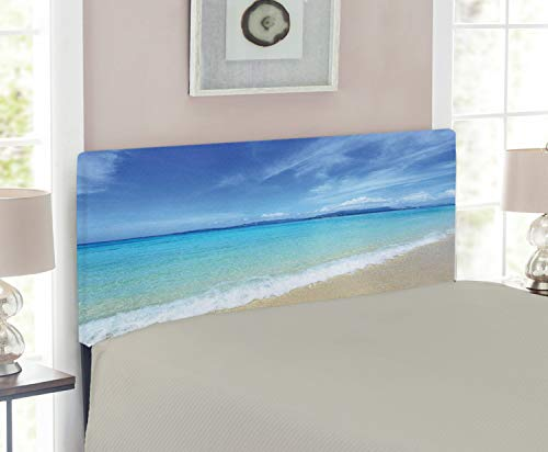 - Lunarable Ocean Headboard for Twin Size Bed, Exotic Beach Scenery with Sky and Clear Sea Water Topical Lands Tranquil Life, Upholstered Decorative Metal Headboard with Memory Foam, Turquoise Cream