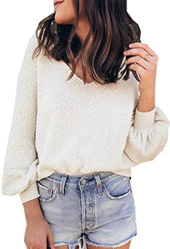 Angashion Women Sweatshirts - Long Sleeve V Neck Fleece Fuzz