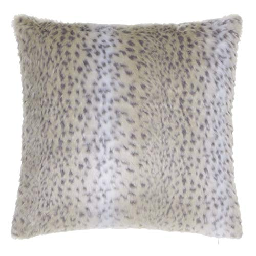 (Black Off-White Tan Multi Snow Leopard Pattern Decorative Throw Pillow 20-Inch, Beautiful African Safari, Zoo, Jungle Wild Animal Print Plush Sofa Cushion, Bright Colors, Durable Polyester, Faux Fur)