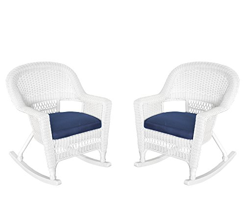 Jeco W00206R-B_2-FS011 Rocker Wicker Chair with Blue Cushion, Set of 2, White -