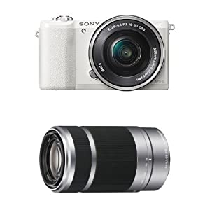 Sony Alpha a5100 Interchangeable Lens Camera with 16-50mm and 55-210mm Lenses (White)