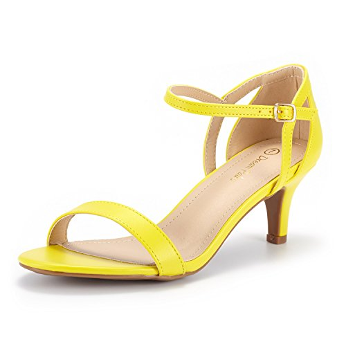 DREAM PAIRS Women's LEXII Yellow Pu Fashion Stilettos Open Toe Pump Heel Sandals Size 8.5 B(M) US