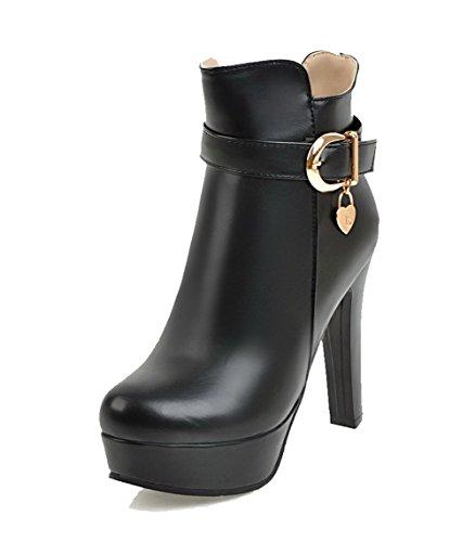 AgooLar Women's Blend Materials Round-Toe High-Heels Zipper Boots Black I9kal