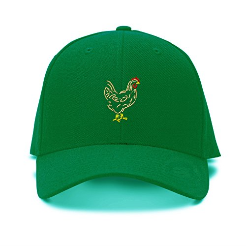 Chicken Embroidery Embroidered Adjustable Hat Baseball Cap Kelly Green (Chicken Hats)