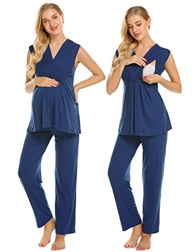 Ekouaer Maternity Nursing Pajamas Womens Breastfeeding Tank Top with Long Pants Pjs,Navy Blue,Large