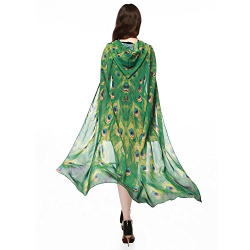 Newlyblouw New Womens Casual Chiffon Cover Up Tops Summer Fashion Novelty Print Butterfly Wing Poncho Shawl Hooded Cardigan Yellow ()