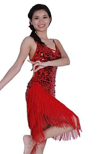 Baile Traje Club Competencia Rojo Disfraz KINDOYO Sin Baile Sin de Respaldo Borla de Noche Traje de Mujeres Disfraz Gama Traje de Mangas Latino alta H7qwZxHTg