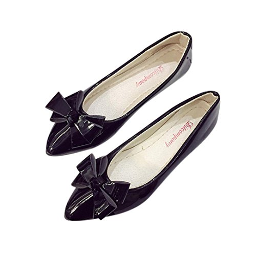 Clog Bow (BeautyVan—— Bow Pointed Toe Women Flats Woman Flat Shoes Ladies Leather Flat Shoes Work Shoes Flat Dance Shoes (US:9, Black))