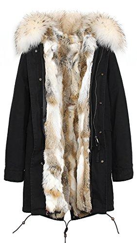 ROMZA Negro de S Blanco abrigo extraíble de pelaje multicolor Cuello amp; de de mujer capucha extraíble mapache conejo con Forro piel invierno dqqU1a