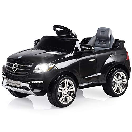 (Costzon Ride On Car, Licensed Mercedes Benz ML350 6V Electric Kids Vehicle, 2WD Powered Manual/Parental Remote Control Modes Car with Microphone, Lights, MP3, USB, TF, Music, Horn for Kids (Black))