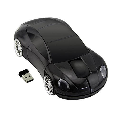 Cool Sport Car Shape Mouse 2.4GHz Wireless Car Mouse Mini Small Optical Gaming Mice Office Mice with USB Receiver for PC Laptop Computer for Kids Girls Adults 1600DPI 3 Button Black
