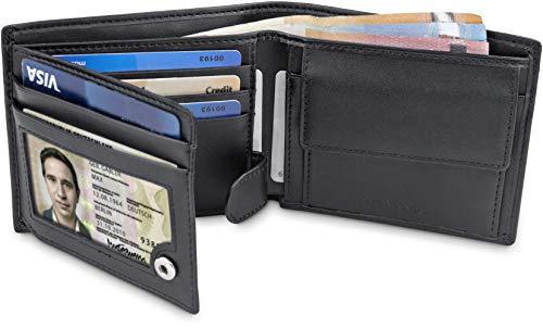 """Nero Wallet Portamonete Borsellino Banconote Carte ® Protezione Porta Orizzontale Portafogli Portamonete Travando Uomo In Rfid Con Credito Di Portafoglio """"tokyo"""" Formato qP8RAHw"""