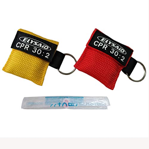 - 2pcs/lot CPR MASK WITH KEYCHAIN CPR FACE SHIELD AED RED&YELLOW POUCH CPR 30:2
