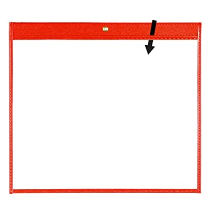 StoreSMART - 11' x 14' - Open Long - Green Rigid Vinyl Sewn Pocket - 10-Pack - Dry Erase Surface - T85204L-G-10 StoreSMART®