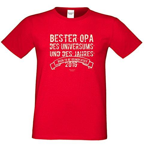 T-Shirt - Bester Opa des Universums Rot - lustiges Sprüche Shirt für Opas mit Humor - Geschenk Set zum Vatertag