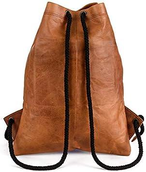 Berliner Bags Sac /à dos en cuir Gym Sport Cordon Sac de corde Hommes Femmes R/étro Marron