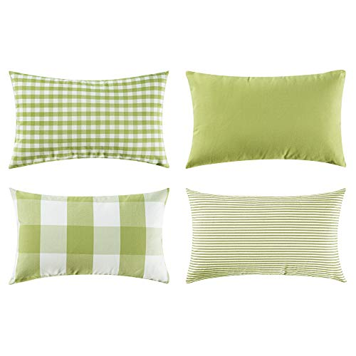 (MIULEE Pack of 4 Decorative Throw Pillow Covers Cotton Stripe Checker Plaids Pattern Classic Retro Pillow Case Vintage Green Cushion Cover Farmhouse Decor for Sofa Bedroom Car 12 x 20 Inch)