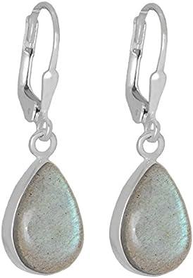 ERCE labradorita piedra semipreciosa pendientes gota, plata de ley 925