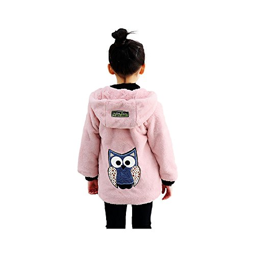 Big Girls Pullover Winter Jackets Hooed Fleece Hoodies Wool Warm Thick Coats (Pink, 8) by Star Flower (Image #1)