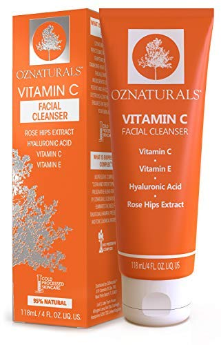 OZNaturals Vitamin C Face Wash: Natural Facial Cleanser for Oily, Dry, and Sensitive Skin - Paraben Free Face Cleaner for Men and Women - Daily Exfoliating Facial Cleansers for Aging Skin - 4 Fl Oz (Mascara Moisture Binding Formula)