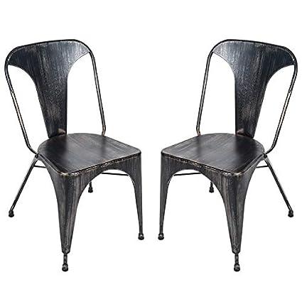 Cool Amazon Com Metal Dining Chair With Distressed Finish Creativecarmelina Interior Chair Design Creativecarmelinacom