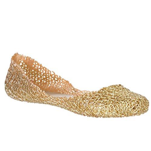 Ballet Flats Comfy (Layered Lines Jelly Ballet Flats,Golden, (9))