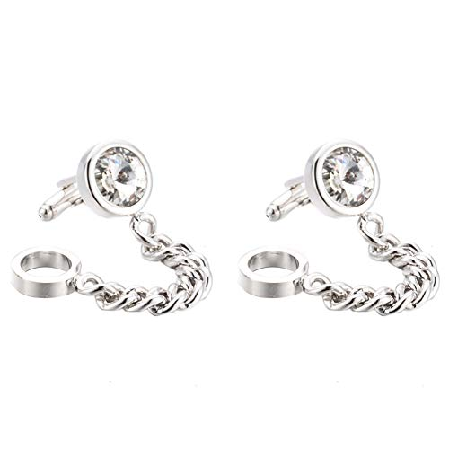 Da.Wa Silver Crystal Chain Cuff Links Men
