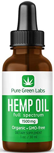 Pure Hemp Oil by Pure Green Labs - 1500mg - Pain Relief, Better Sleep, Anxiety Relief, Stress Relief, Joint Pain, Inflammation - All-Natural, No additives, Organic and GMO-Free - Full Spectrum ()