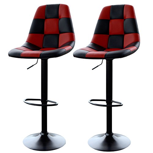 AmeriHome Red Checkered Racing Bar Chairs (2-Piece