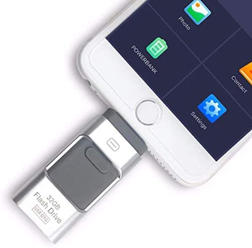 64GB USB Flash Drives, for iPhone [3-in-1] Lightning OTG Jump Drive, iPad Memory Stick, iOS External Storage Expansion for iOS Android PC Laptops,Silver