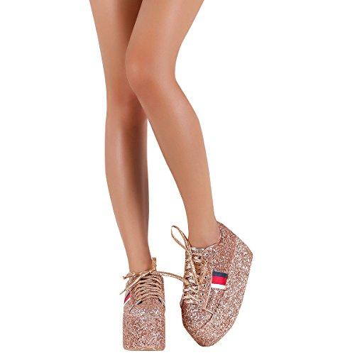 Cape Robbin Womens Punta Tonda Glitter Piattaforma Piatta Alta Zeppa Con Zeppa Stringate Moda Sneakers Stivaletti In Oro Rosa