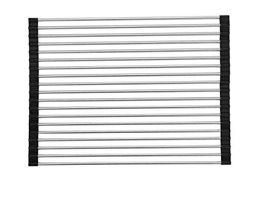 """IFREE Over the Sink Multipurpose Roll Up Dish Drainer - Solid Steel - Large 20"""" x 12"""" (Black, Large) - Also Useful as a Trivet and Cooling Rack"""