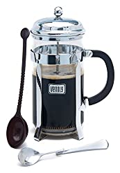 French Press Coffee Brewer Kits, Glass with Stainless Steel Chrome Finish, Double Filter, 8 Cup Capacity, by Venoly by Venoly